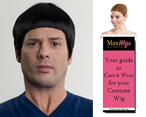 Spok Star Trek Color Black - Enigma Wigs Men's Spock Spaceman Vulcan Nimoy Bundle with Wig Cap, MaxWigs Costume Wig Care (Spok Ears)