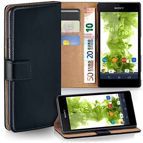Xperia Z1 Compact Wallet Case, OneFlow [Credit Card Holder Slots and Kickstand] PU Wallet Case for Sony Xperia Z1 Compact Faux Leather Flip Folio Cover - DEEP-BLACK