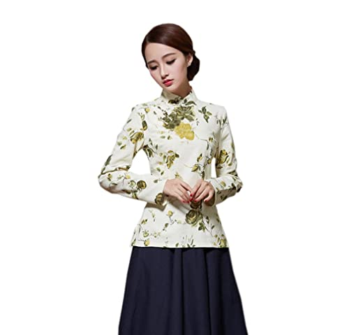 YueLian Mujeres Camiseta de Verano Diaria De Manga Larga Retro Estampado La mejora de Cheongsam Cami...