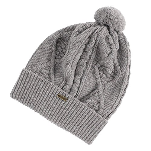 Barbour Sub Women's Wool Bobble Cable Knit Beanie, Grey, One Size (Barbour Cap)
