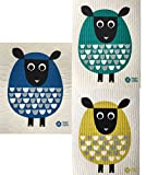 Trendy Tripper Swedish Dishcloths, Set of 3 Different Colored MODERN SHEEP: 1 each BLUE + GREEN + YELLOW GOLD