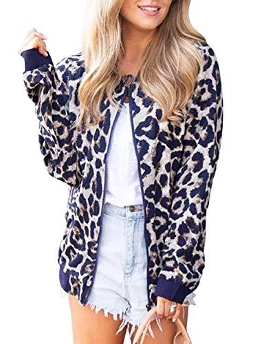 Eletina Staring Donkey Women Women's Long Sleeves Leopard Print Jacket Zip Up Coats Top Blouse Bomber Jacket Blazer Hacking