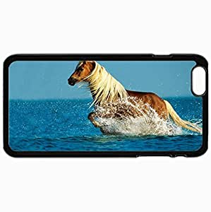 Fashion Unique Design Protective Cellphone Back Cover Case For iPhone 6 Plus Case Horse Water Spray Walk Sky Sea Black