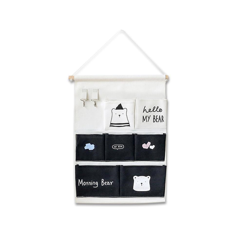 Bolsa de almacenamiento colgante de pared de oso blanco diario bolsa de colgar de dibujos animados lindo gancho de múltiples funciones bolso colgante plegable es muy adecuado para dormitorio de los ni Yves25Tate