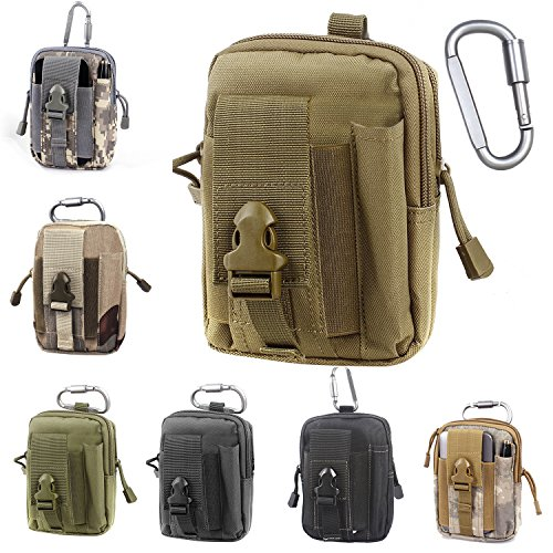 - Unigear Compact Multipurpose Tactical Molle EDC Utility Gadget Pouch Tools Waist Bag with Holster Holder, 1000D (Tan)