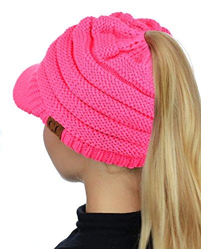 C.C BeanieTail Warm Knit Messy High Bun Ponytail Visor Beanie Cap - http://coolthings.us