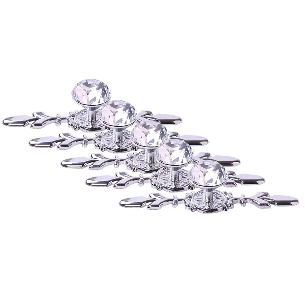 Fvstar 5pcs Crystal Cabinet Handles Drawer Pull Dresser Handles Knobs Diamond Glass Knobs with Plate and Screws,Cupboard Handles for Living Room Kitchen Bedroom