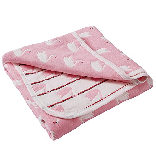 """6 Layers of 100% Organic Muslin Cotton Toddler Blanket with Reversible Swan Printed Design, 43""""x 43"""", Pink by NTBAY from NTBAY"""