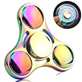 Misfanstech EDC Tri Fidget Spinner, Elfin Colorful Smooth Surface + High-quality Bearing 3+ Minutes Spinning Time Finger Stress Reducer Toy for Boredom, Anxiety, Focusing (Prismy)