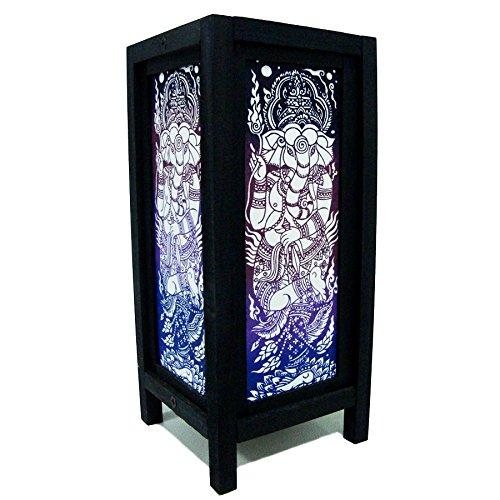 Ganesha India Hindu Purple Handmade Asian Oriental Wood Light Night Lamp Shade Table Desk Art Gift Home Vintage Bedroom Bedside Garden Living Room; Free Adapter; a Us 2 Pin Plug #519 by Apple-Heart (Image #4)