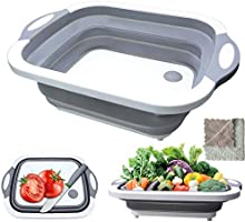 Collapsible Cutting Board, HI NINGER multifunction chopping board With Towel, Space Saving 3 in 1 Multifunction Storage...