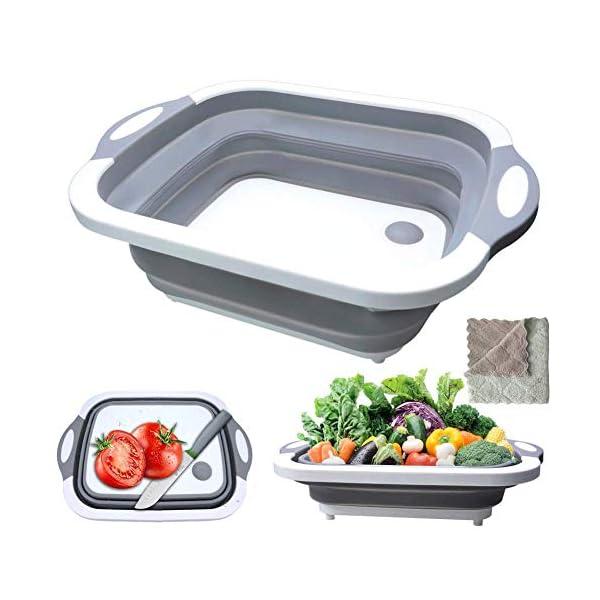 516y6Mv40tL Gintan Schneidebrett Küche 3 in 1 Faltbare Schneidebret Kunststoff, Tragbares Schneidebrett Frühstücksbrettchen mit…
