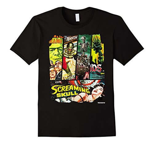 Men's Vintage Style Sci Fi Horror Movie Poster Collage T-Shirt 2XL Black (Horror Tshirts)