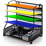 Simple Trending 5-Trays Mesh Desk File Organizer Vertical Document Letter Tray Wall File Holder with Drawer Organizer for Office Home, Black