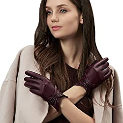 GSG Womens Touchscreen Driving Gloves Warm Winter Ladies Beautifully Ruched Fish Mouth Cuff Genuine Leather Gloves Outdoor Wine 7.5