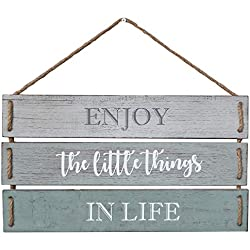"Barnyard Designs Enjoy The Little Things in Life Quote Wall Decor, Decorative Wood Plank Hanging Sign 17"" x 10.25"""