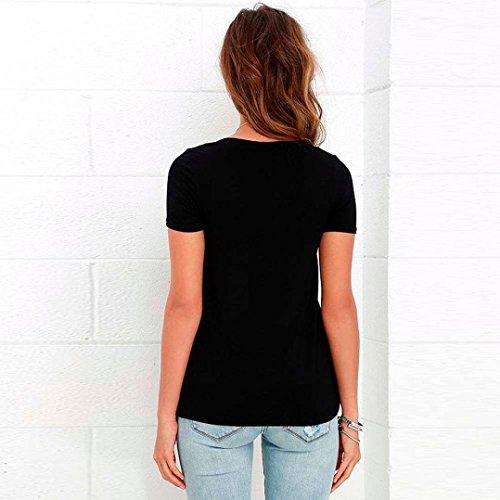 Courtes T Chemisier Shirt Femme V Sexy Bandage Encolure Minetom Blouses Manches Noir Tops Lacets wIA0q4