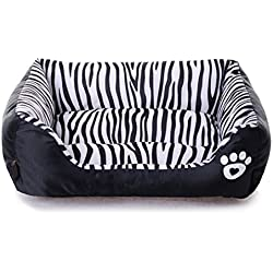 Echo Paths Comfortable Pet Bed Sleep Cozy Dog Cat Caves Beds Pets Paw Printed Zebra L (25.218.56.3 inch)