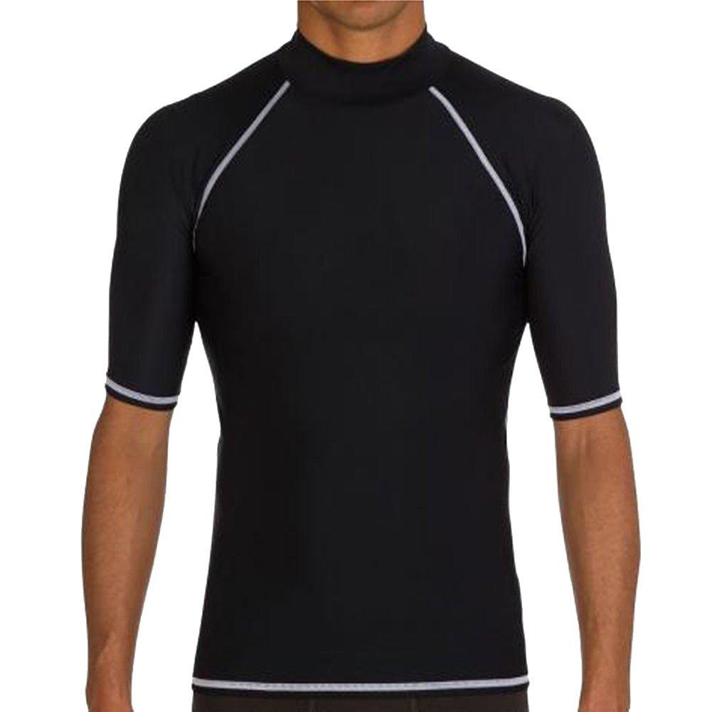 公式 homieco ™メンズ半袖水泳シャツSun保護ラッシュガードウェットスーツ B01FW0A6ZG Large ブラック B01FW0A6ZG Large ブラック ブラック Large, 内野タオル&バスショップ:de6d9cd9 --- egreensolutions.ca