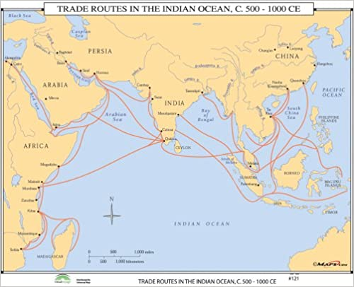 Amazon.com: Trade Routes Indian Ocean (World History Wall ... on india china map, india trade route art, india road map, india terrain map, india travel map, india culture map, india british empire map, india africa map, india russia map,