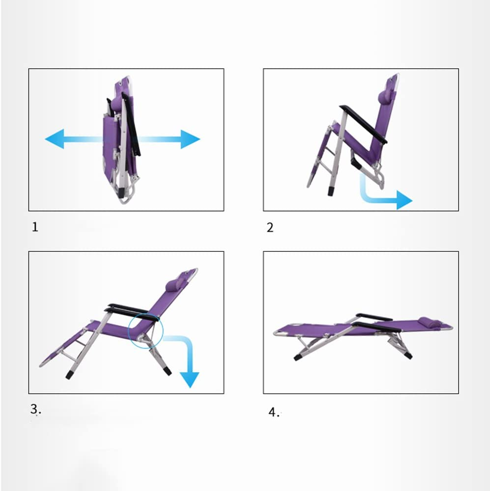 ZHPBHD Folding Chair Recliner Folding Lunch Break Office Siesta Chair Folding Chair Beach Chair Lounge Chair (Color : C) B