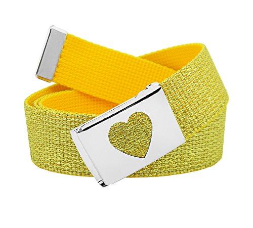Girl's School Uniform Silver Flip Top Heart Belt Buckle with Canvas Web Belt Small Glitter Gold