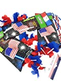 Patriotic Party Pack 3 USA Flag Glow Sticks (1) 3 Pack Patriotic Flower Leis (1) 3 Pack USA Necklaces Plus 100 Plus Tips Guide to A Safe 4th of July Celebration