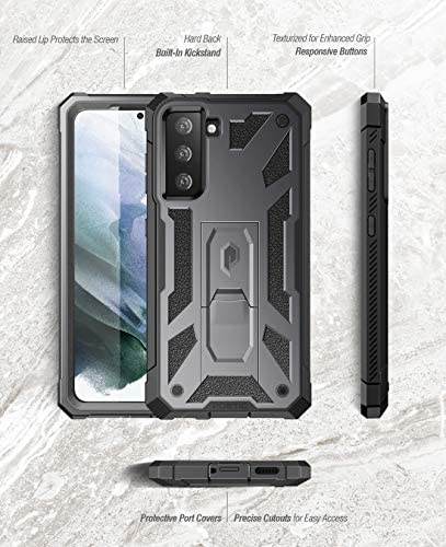 Poetic Spartan Case for Samsung Galaxy S21 5G 6.2 inch, Built-in Screen Protector Work with Fingerprint ID, Full Body Rugged Shockproof Protective Cover Case with Kickstand, Metallic Gun Metal