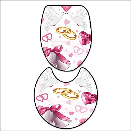 qianhehome 2 Piece Extended Bath mat Set Wedding Themed Artwork Invitation Announcement Hearts Rings Birds for Pink White Gold. 2 Piece Toilet Cover Set 17