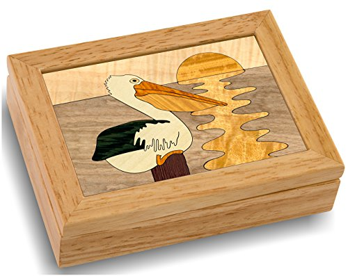 Wood Art Pelican Box - Handmade USA - Unmatched Quality - Unique, No Two are the Same - Original Work of Wood Art. A Pelican Gift, Ring, Trinket or Wood Jewelry Box (#4144 Pelicans Perch 4x5x1.5)