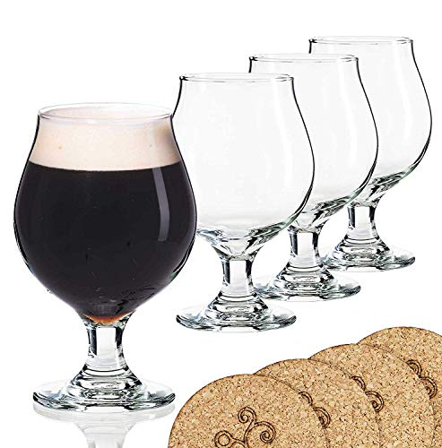 Libbey Beer Glass Belgian Style Stemmed Tulip - 16 oz Lambic Beer Glasses - set of 4 w/coasters ()