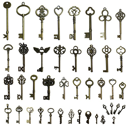 N'joy 42PCS Vintage Skeleton Keys, Mixed Steampunk Keys, Antique Bronze (X42B)