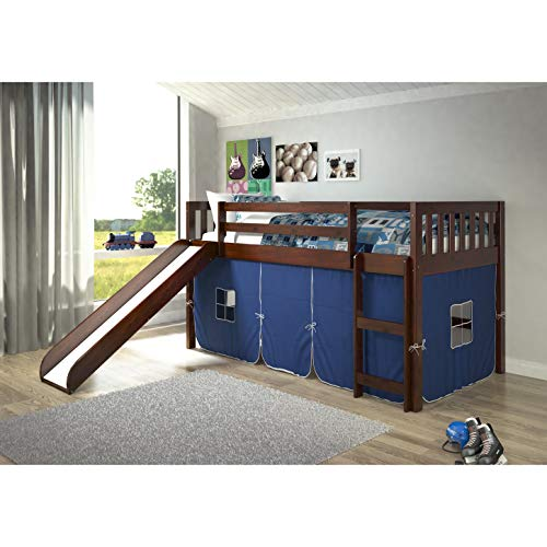 Donco Kids Mission Tent Loft Dark Cappuccino Twin Bed with Slide Blue Blue Finish