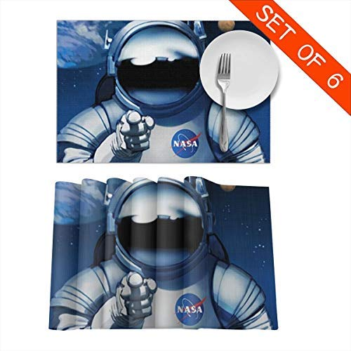 Tidyki NASA We Need You Spaceman Placemats Table Mats Set of 6 Washable Non Slip Heat Insulation Place Mats Dining Room Kitchen Decor 12
