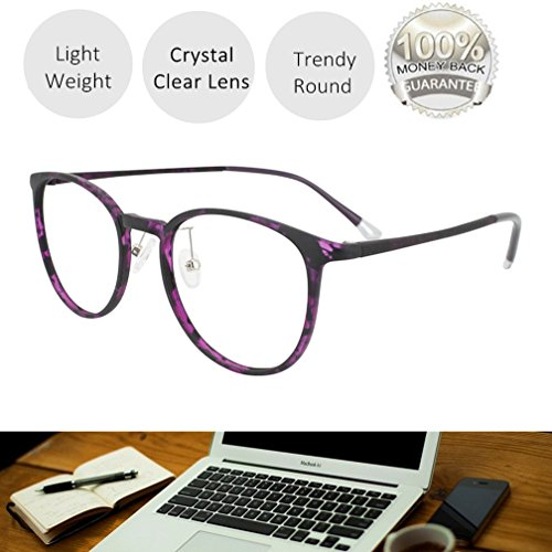 Reading Glasses 0.25 Violet Tortoise Round Eyeglasses Frames for Women, Light Weight - Round Eyeglass Tortoise Frames