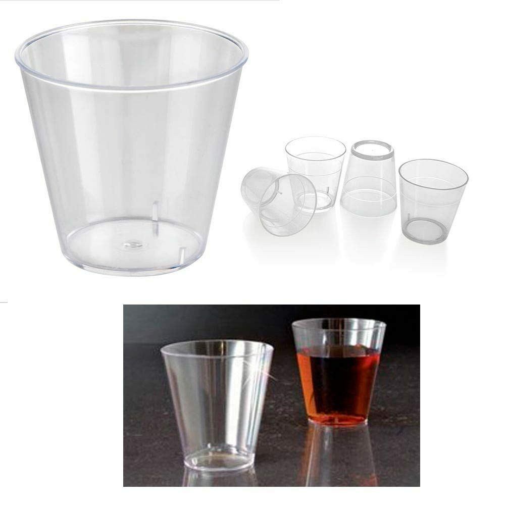 100 Clear Shot Glasses 2 oz Hard Plastic Disposable Cups Wine Party Catering Bar by Cocoso Shop