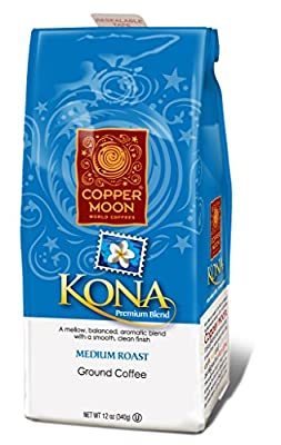 Copper Moon Kona Blend Medium Roast, Ground Coffee, 12-Ounce Bag from SIPWELL