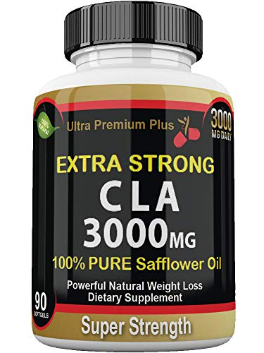 CLA 3000mg Super Strength Ultra Premium Plus. Highest Potency Conjugated Linoleic Acid Softgel. Pure 100% Safflower Oil, Best Weight Loss, Fat Burner, Body Enhancement, Supplement
