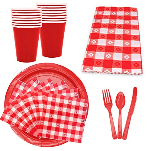 Picnic Party Set - Red N White Checkered Gingham Picnic BBQ Party Supplies Set, Serves 16,Paper Large and Small Plates, Napkins, Cups, Forks, Knives, Spoons, Tablecloth