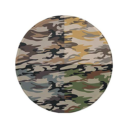 (Non-Slip Rubber Round Mouse Pad,Camo,Camouflage Patterns in Four Different Colors Going Undercover Militaristic Combination,Multicolor,7.87