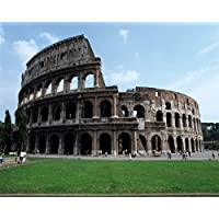 Laeacco Vinyl Thin Backdrop 7x5FT Photography Background Ancient Rome Blue Sky Green Lawn Colosseum theme Background Personal Portraits 2.2(W)x1.5(H)m Backdrop for Video Photo Studio Props