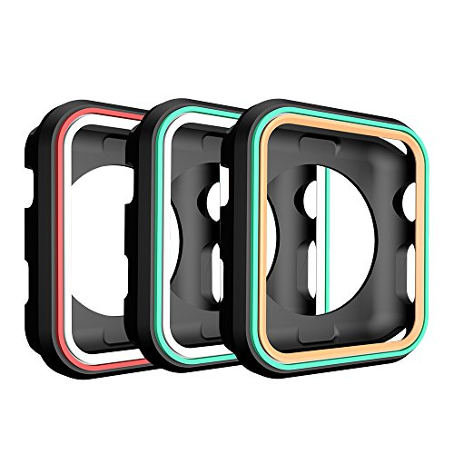 AWINNER Colorful Case for Apple Watch 38mm,Shock-proof and Shatter-resistant Protective iwatch Silicone Case for Apple Watch Series 3,Series 2,Series 1, Nike+,Sport,Edition (3-Black)