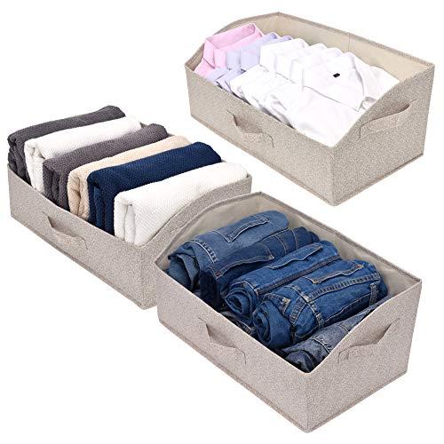 GRANNY SAYS Closet Baskets, Closet Organizer Bins, Closet Bins, Trapezoid Storage Bins, 3 Pack, Beige ()