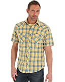 Wrangler Men's Tough Enough to Wear Pink Button Front Shirt, Yellow/Blue, L
