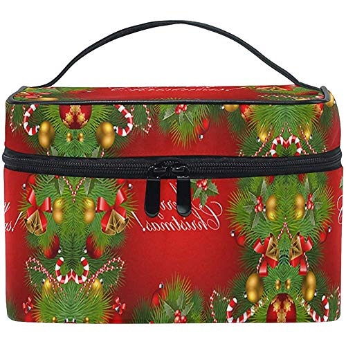 Christmas Tree Bell Makeup Bag Xmas Gift Holly Berry Cosmetic Bag Portable Zip Brush Bag Organizer Storage