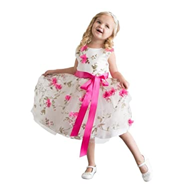 4cc0aa78d Amazon.com: Think Pink Bows Little Girls' Spring Garden Flower Girl ...