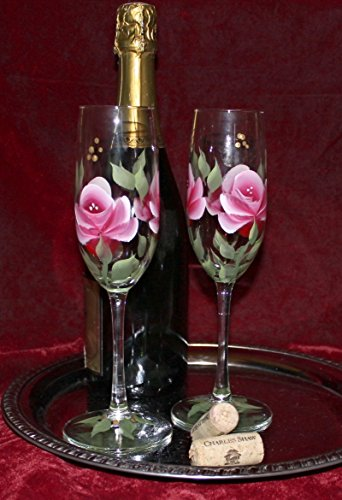 Hand Painted Champagne Glasses (Set of 2) - Red/Pink Roses