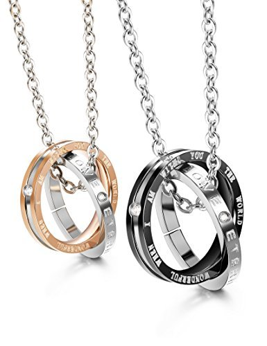 Finrezio Matching Set Couples Necklace for Him&Her Korean Ring Pendant Necklace Jewelry Made of Stainless Steel by Finrezio