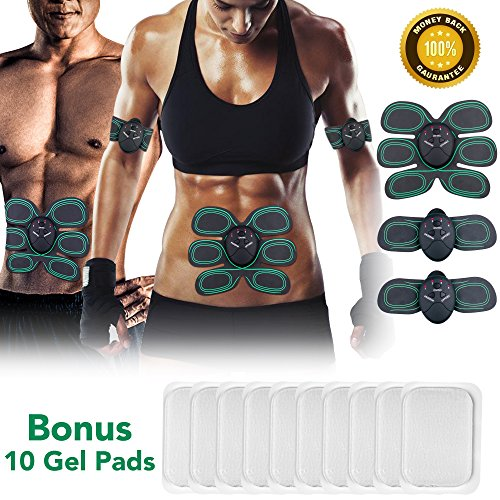 Inpher Muscle Toner EMS Muscle Stimulator Abs Trainer Gym Workout and Home Fitness Equipment for Arm/Thigh and Abdomen Extra 10pcs Electrode Gel Replacement