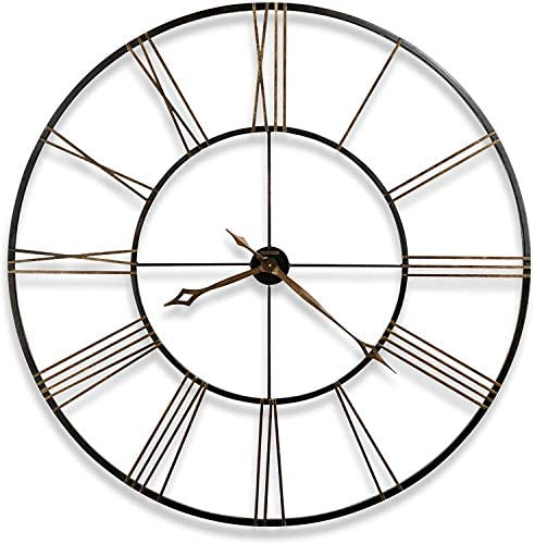 Howard Miller Postema Gallery Wall Clock 625-406 Oversized Round Wrought-Iron with Quartz Movement